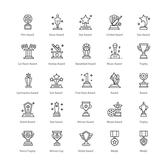 Achievements line icons pack