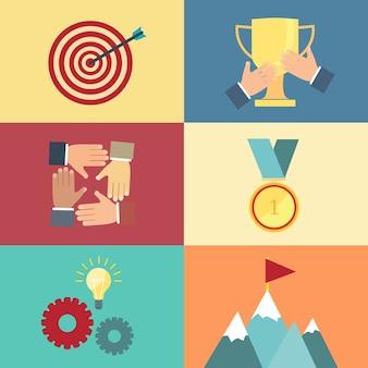 目標を達成する、フラットな正方形のスタイルで成功の概念ベクトル図