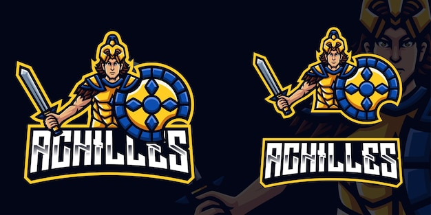 Achilles gaming mascot logo for esports streamer and community