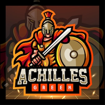 Achilles greek mascot esport logo design