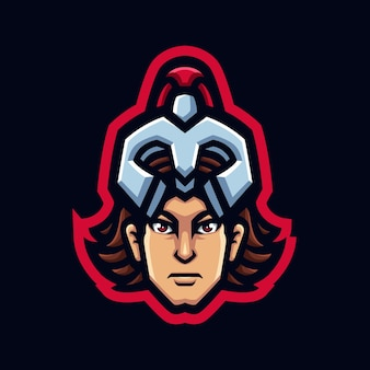 Achilles head gaming mascot logo for esports streamer and community