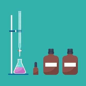 Acid-based titration equipment in chemistry laboratory vector