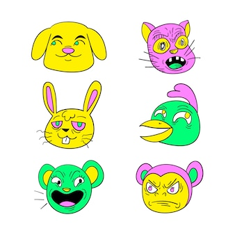 Acid colors hand-drawn funny sticker collection