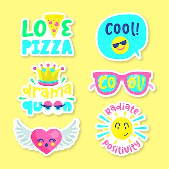 Acid colors hand-drawn funny sticker set