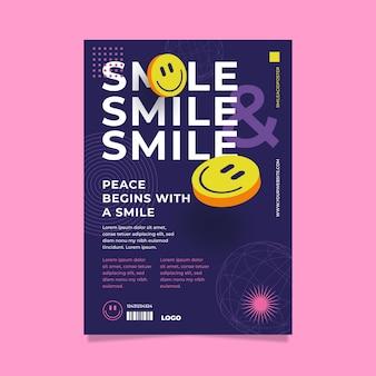 Кислотный плакат emoji плоский