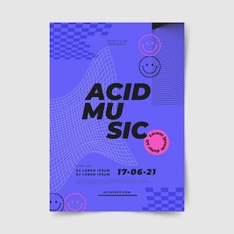 Acid emoji poster template