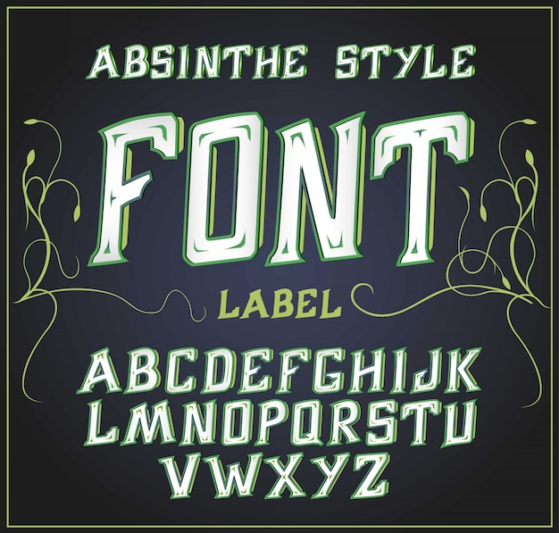 Acid font good for use to decoration alcohol production leaflet and other printing  green