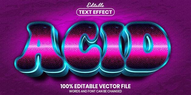 Acid text, font style editable text effect