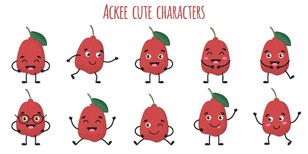 Ackee fruit cute funny cheerful characters with different poses and emotions. natural vitamin antioxidant detox food collection.   cartoon isolated illustration.