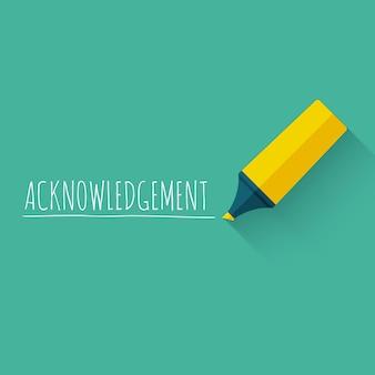 黄色の鉛筆またはマーカーで謝辞の単語のコンセプトデザイン。
