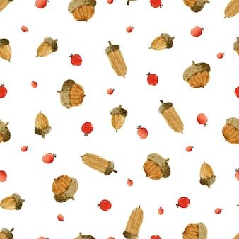 Желудь и ягоды акварель бесшовный фон