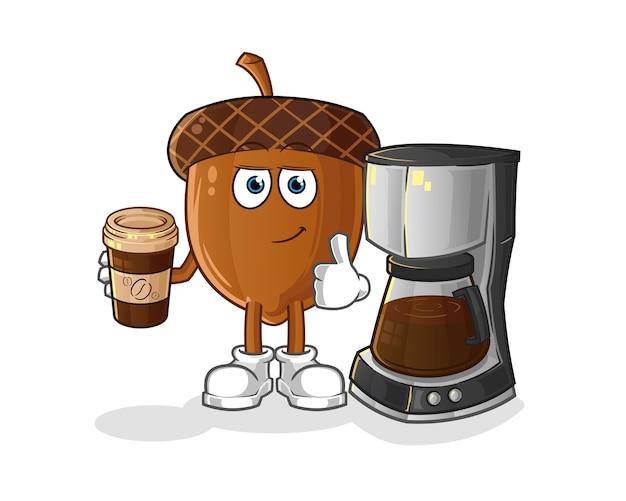 ドングリコーヒーイラストを飲む