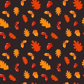 도토리 손으로 그린 가을 원활한 패턴