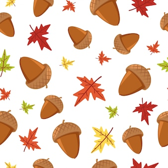 Acorn and maple autumn leaf seamless pattern on white for wallpaper, wrapping, packing, and backdrop.