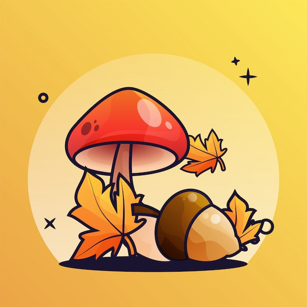 Acorn and mushrooms