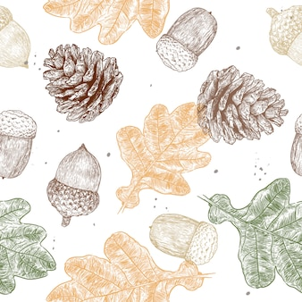 Acorn seamless pattern vector.