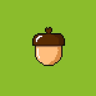 An acorn with pixel art style