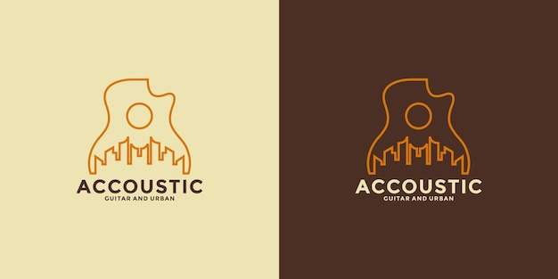 Acoustic country inspiration logo design minimalist with line art