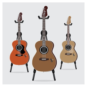 Acoustic electric guitar set with stand