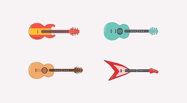 Acoustic, electric guitar and ukulele illustration