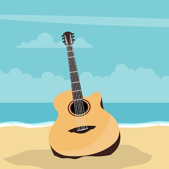 Acoustic guitar design with beach in summer