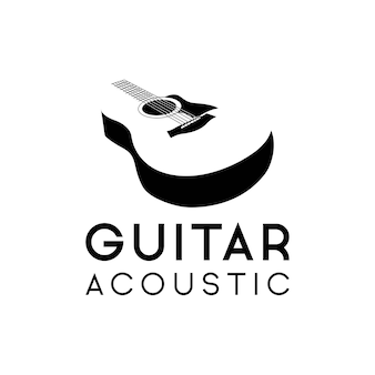 Акустическая гитара логотип ретро битник, икона классической акустической гитары