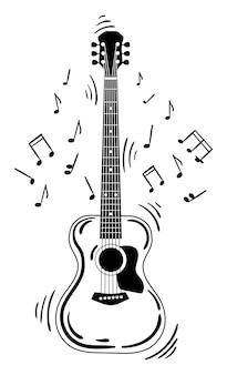 어쿠스틱 기타가 소리를냅니다. 메모와 함께 검은 색과 흰색 기타입니다. 악기.