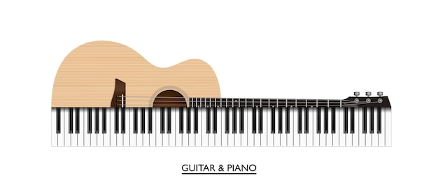 Acoustic guitar and piano keys abstract music instrument