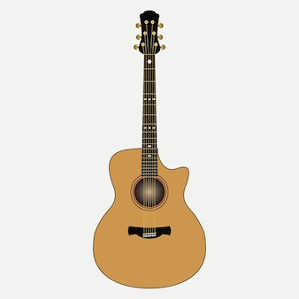 Acoustic guitar. realistic stringed musical instrument. vector illustration.