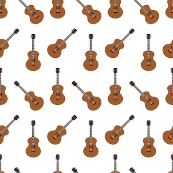 Acoustic guitar vector seamless pattern