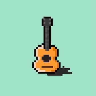 Акустическая гитара в стиле пиксель-арт