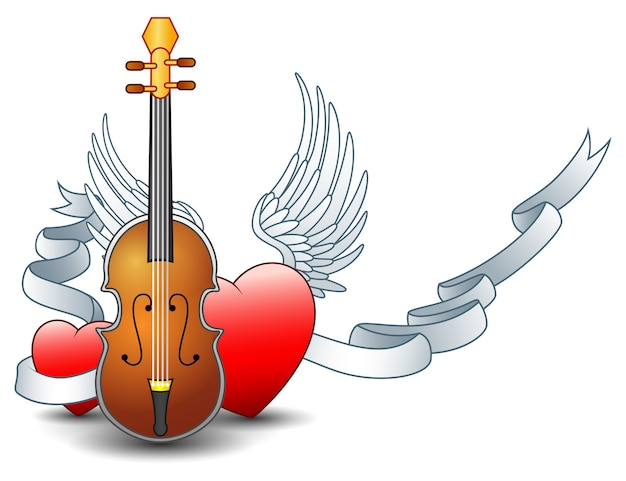 Acoustic guitar with winged heart and silver ribbon