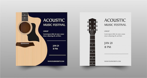 Acoustic music festival concert flyer set