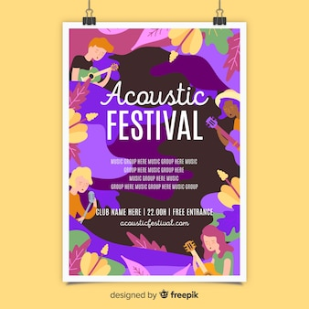 Acoustic music festival poster template