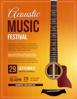 Acoustic music guitar poster