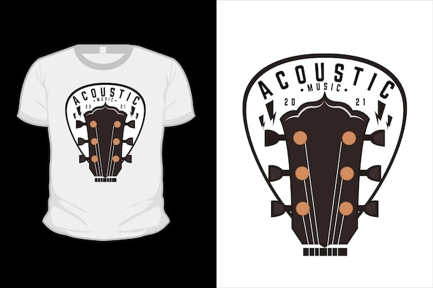 Acoustic music illustration t shirt design with guitar