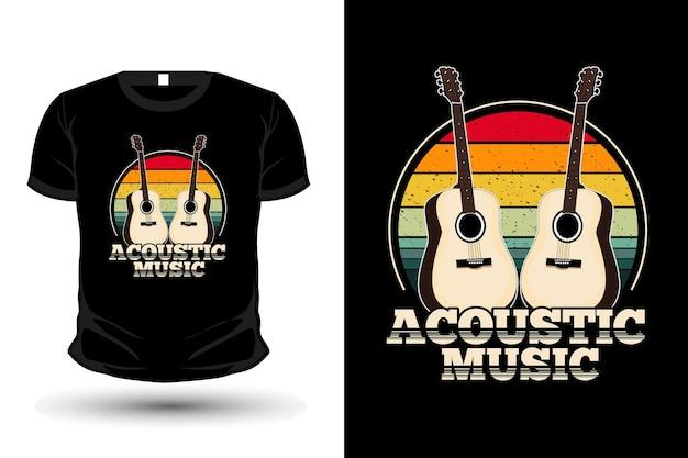 Acoustic music vintage retro t-shirt design