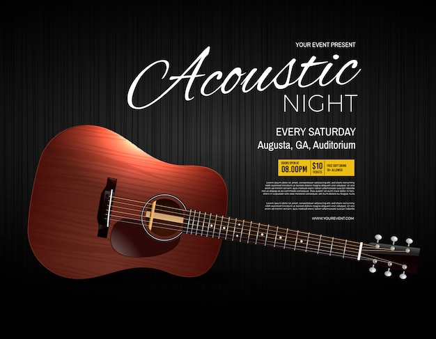 Acoustic night live performance event poster