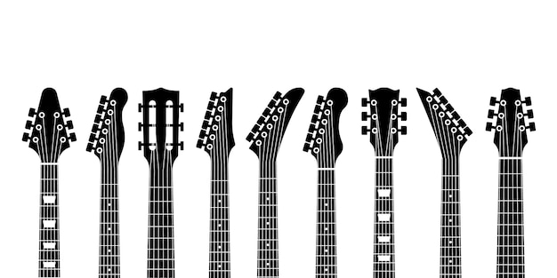 Acoustic and rock electric guitars heads