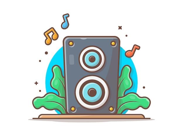 Акустическая система звука спикер с нотами музыки значок. музыка звук аудио белый изолированный