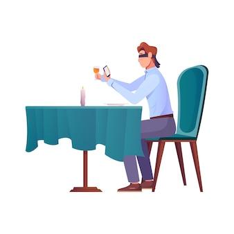 目隠しの目でスマートフォンを保持しているレストランのテーブルで男性との知人のロマンチックな構図