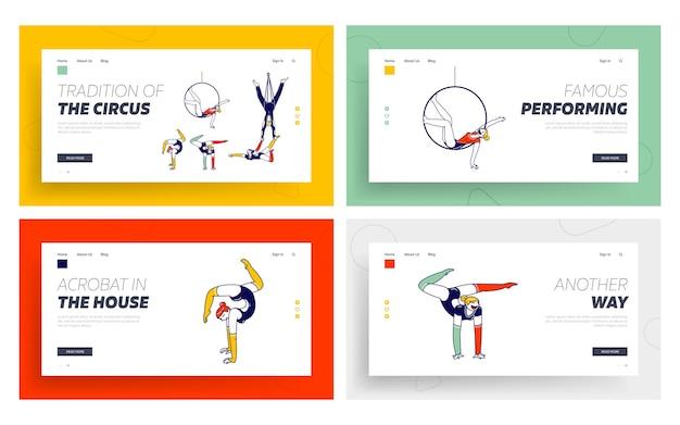 Персонажи acrobat, выполняющие элементы гимнастики, набор шаблонов целевой страницы.
