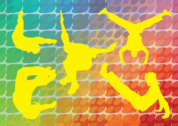 Acrobatic silhouettes vector