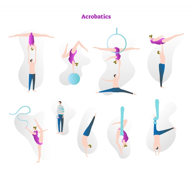 Acrobatics vector illustration collection