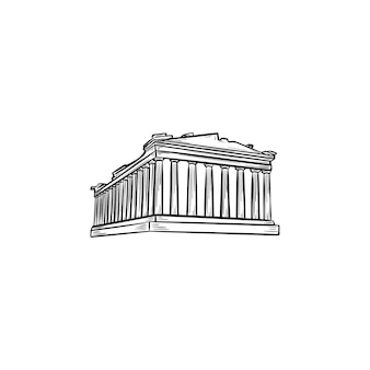 Acropolis in athens hand drawn outline doodle icon. the parthenon and antient temple, tourism concept
