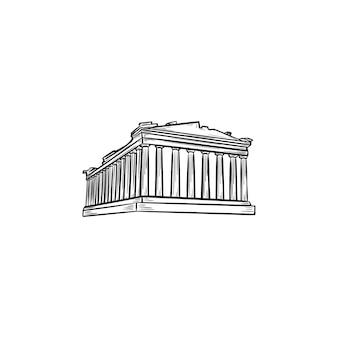 아테네의 아크로폴리스 손으로 그린 개요 낙서 아이콘. 파르테논 신전과 고대 사원, 관광 개념