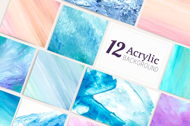 Acrylic brush stroke background vector set