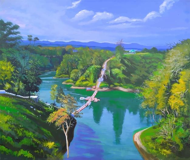 アクリル色の湖の澄んだ水の反射と山の木々の景色と橋の自然の風景イラスト