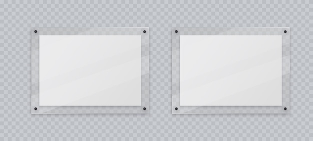 Acrylic frame mockup two horizontal glass plate for poster of photo realistic mockup isolated