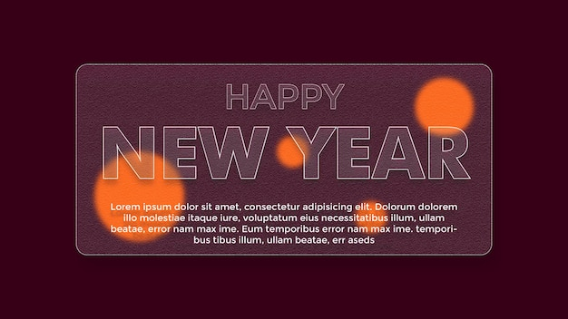 Acrylic glass effect with new year greeting theme